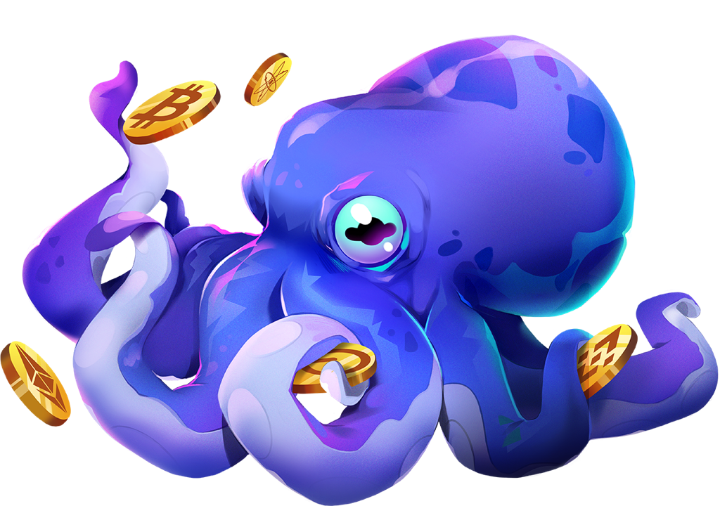 XDEFI Octopus with Binance, Bitcoin, Polkadot, Ethereum, Cosmos Coins
