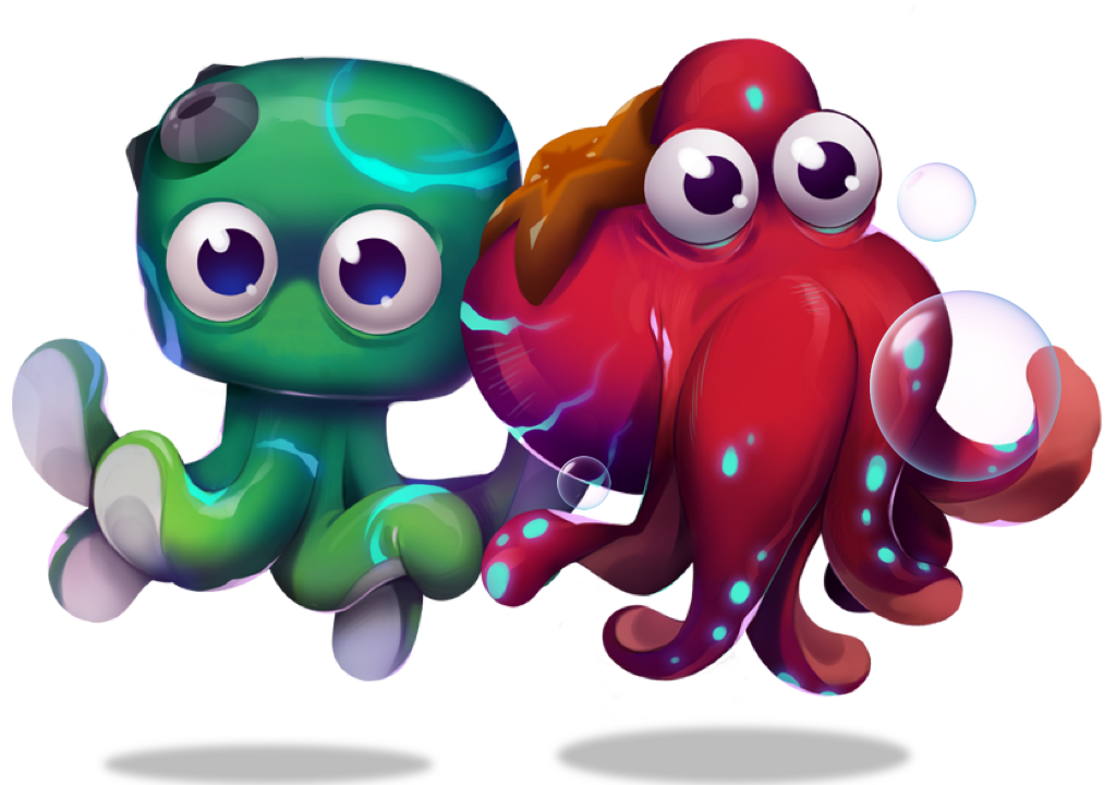Friendly crypto octopus with bubbles NFT stored on XDEFI wallet